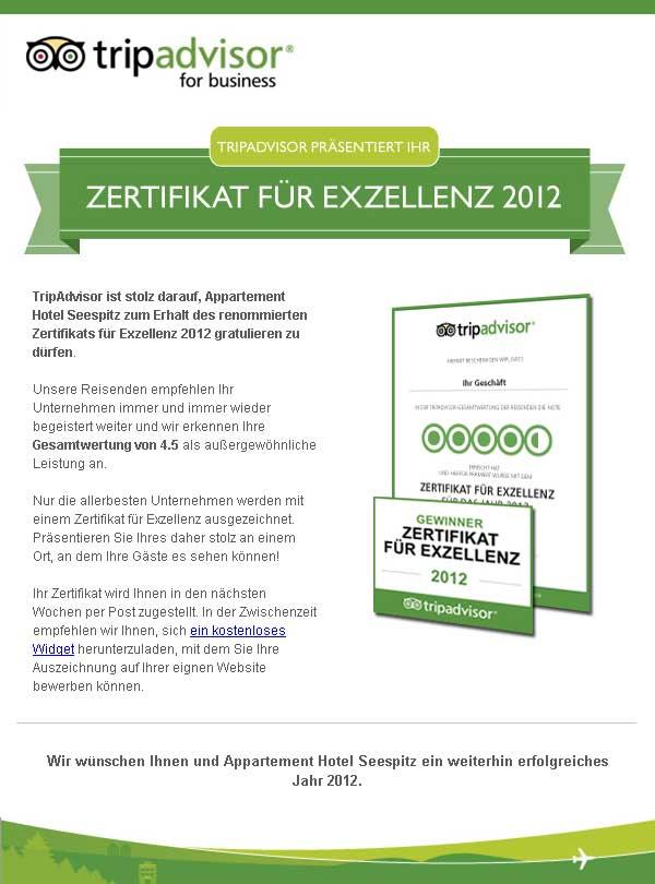 Zertifikat für Aparthotel Seespitz