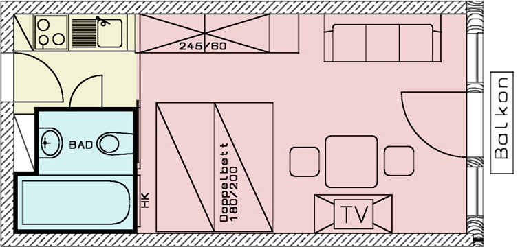 groundplan of the 1-room-apartment at the aparthotel Seespitz in Fuessen