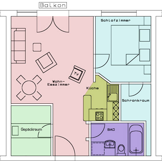 groundplan for the 3-room-apartment at aparthotel Seespitz in Füssen
