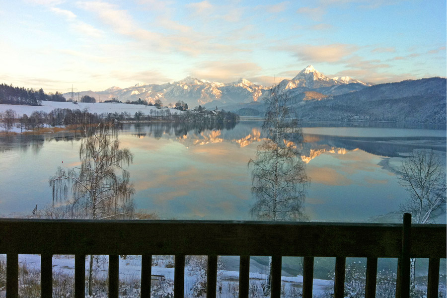 The view from the aparthotel Seespitz in Füssen-Weissensee