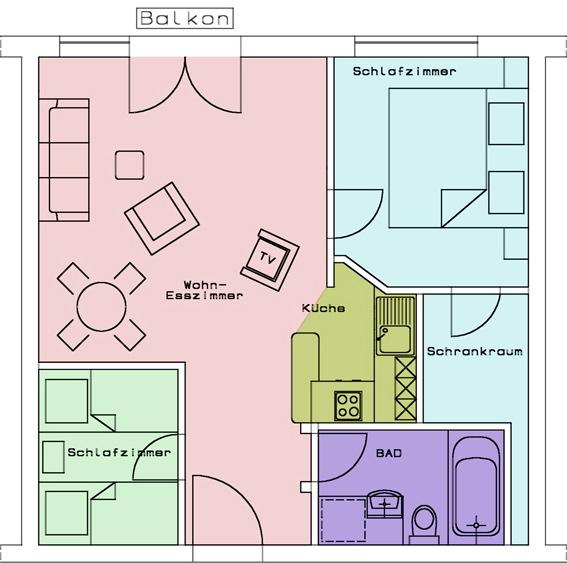 Grundriss im Dreizimmer-Appartement im Appartementhotel Seespitz in Füssen
