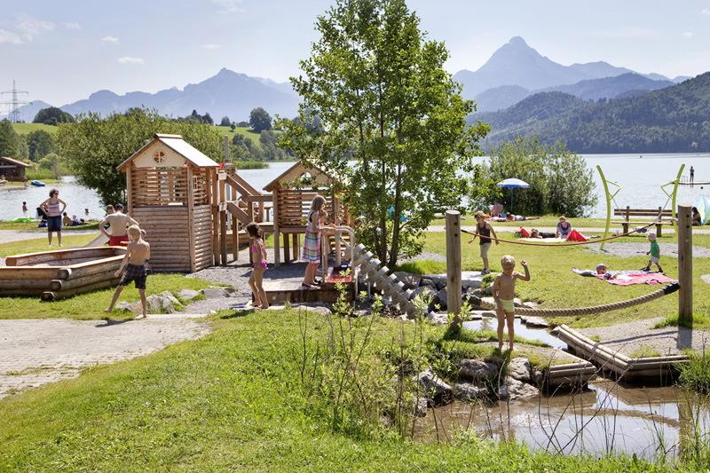 Playground at Lake Weissensee in Füssen im Allgäu