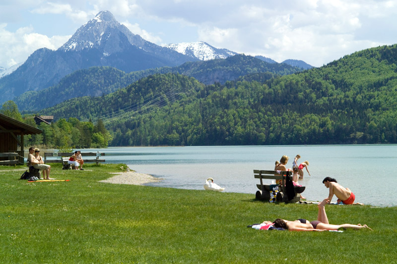 Swimming and walking at Lake Weissensee by Fuessen